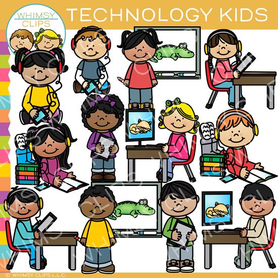 Technology Kids Clip Art.