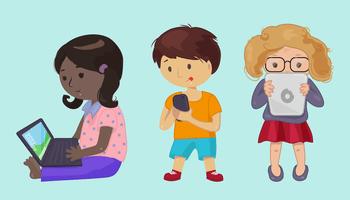 Children Using Technology Clipart.