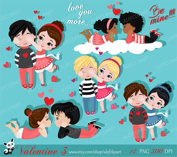 Valentine kids clipart 3 , My Cute Valentine, digital clip art.
