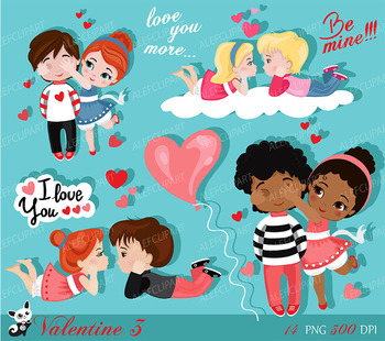 Valentine kids clipart 3 , My Cute Valentine, digital clip art. Valentine's  Day..