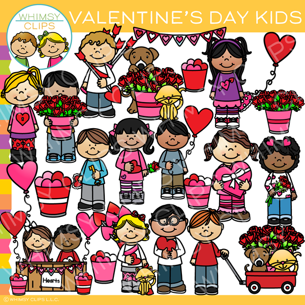 Cute Valentine's Day Kids Clip Art.