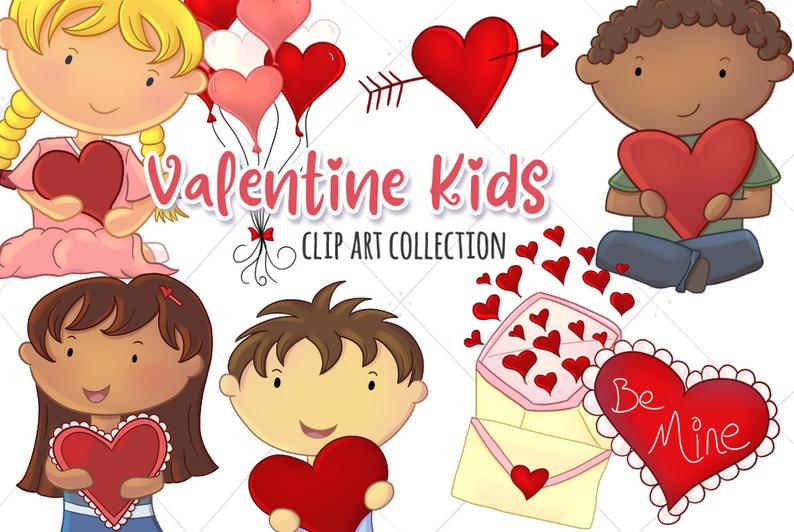 Valentine's Day Kids Clip Art.