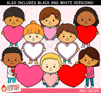 Kids with Hearts Valentines Day Clipart.
