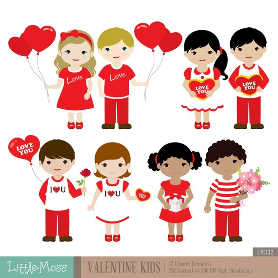 Valentine Kids Digital Clipart.