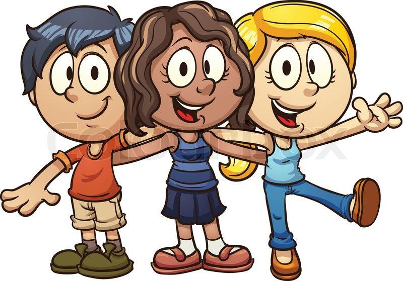 Cute cartoon kids. Vector clip art.