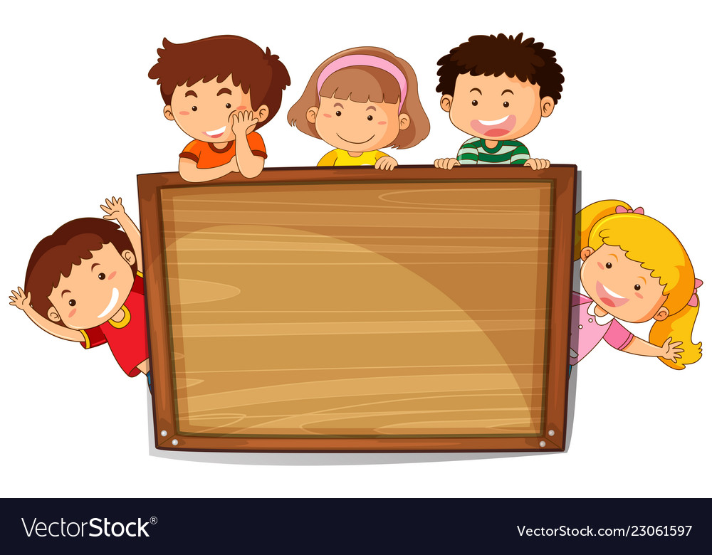 Kids on wooden board.