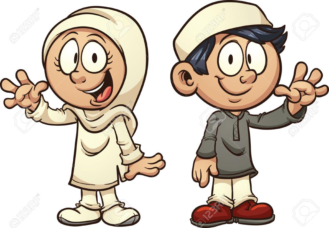 Cartoon muslim kids. Vector clip art illustration with simple...