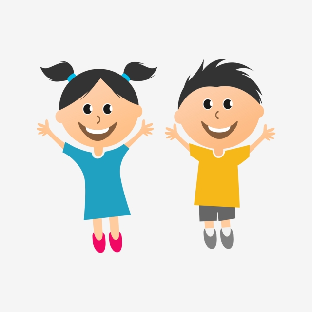 Colorful Happy Kids Vector Creative Illustrated Png Art, Project.