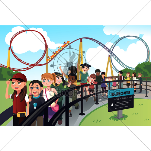 Children Waiting In Line For A Roller Coaster Ride · GL.