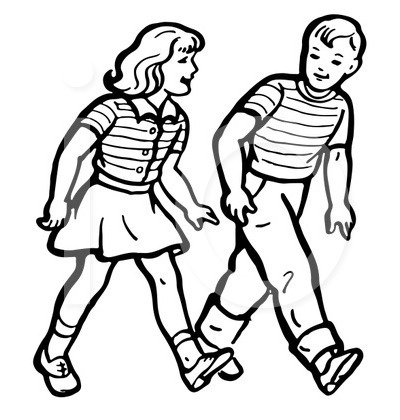 Children Walking Clip Art.