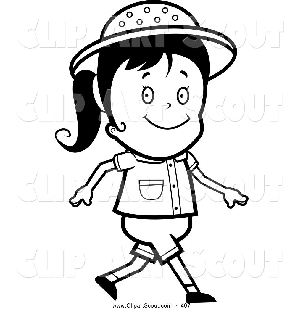 Girl walking clip art black and white