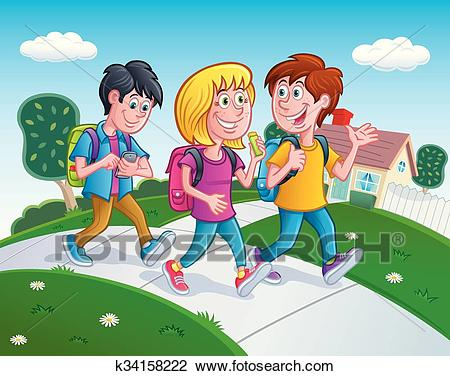 Kids Walking Home From School Clipart.