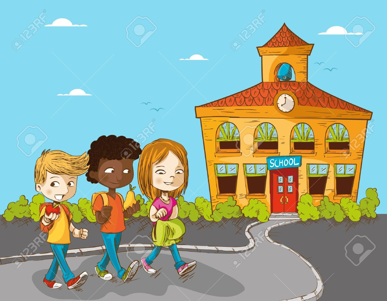 Back to school cartoon kids walking to school education illustration..