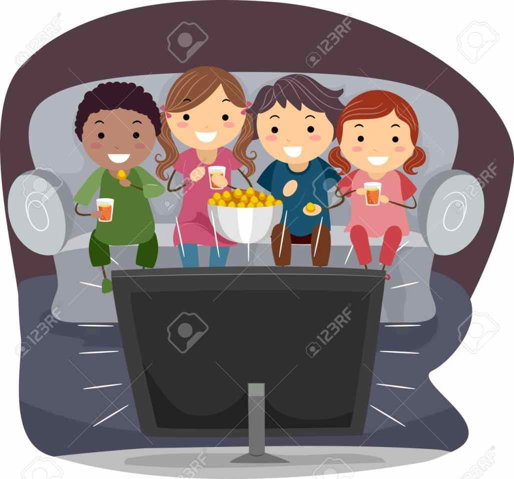Kids Watching Movies Clipart.