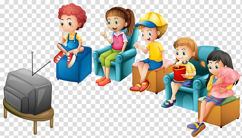 Five kids watching television illustration, Television.