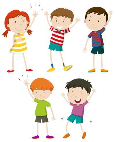 A Set of Kids Waving.