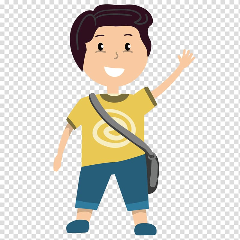 Child Boy Illustration, Waving boy transparent background.