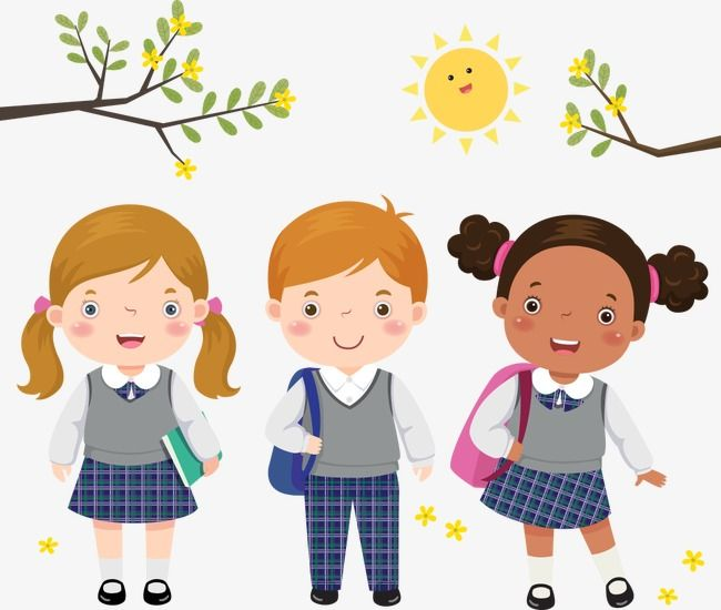 Children Wear Uniforms Vector, Child, Cartoon Children.
