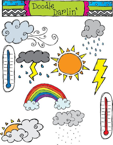 Weather Clipart Set INSTANT DOWNLOAD.