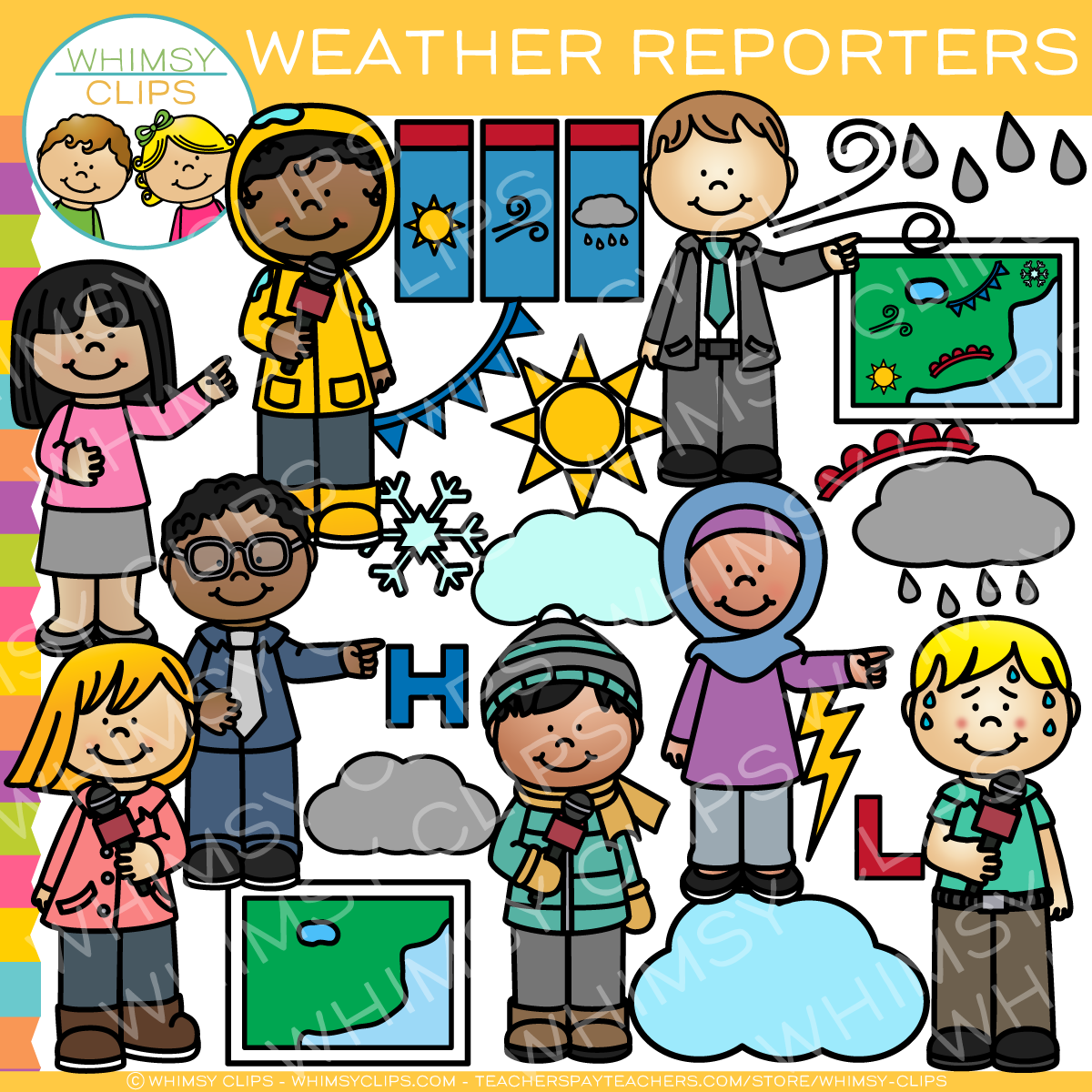 Kids Weather Reporters Clip Art.