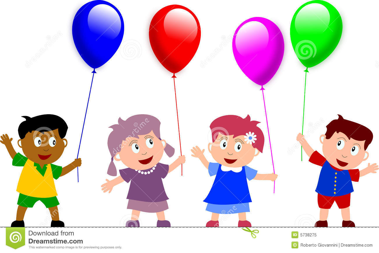 Kids and Balloons stock illustration. Illustration of diversity.