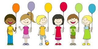 Children Balloons Stock Illustrations.