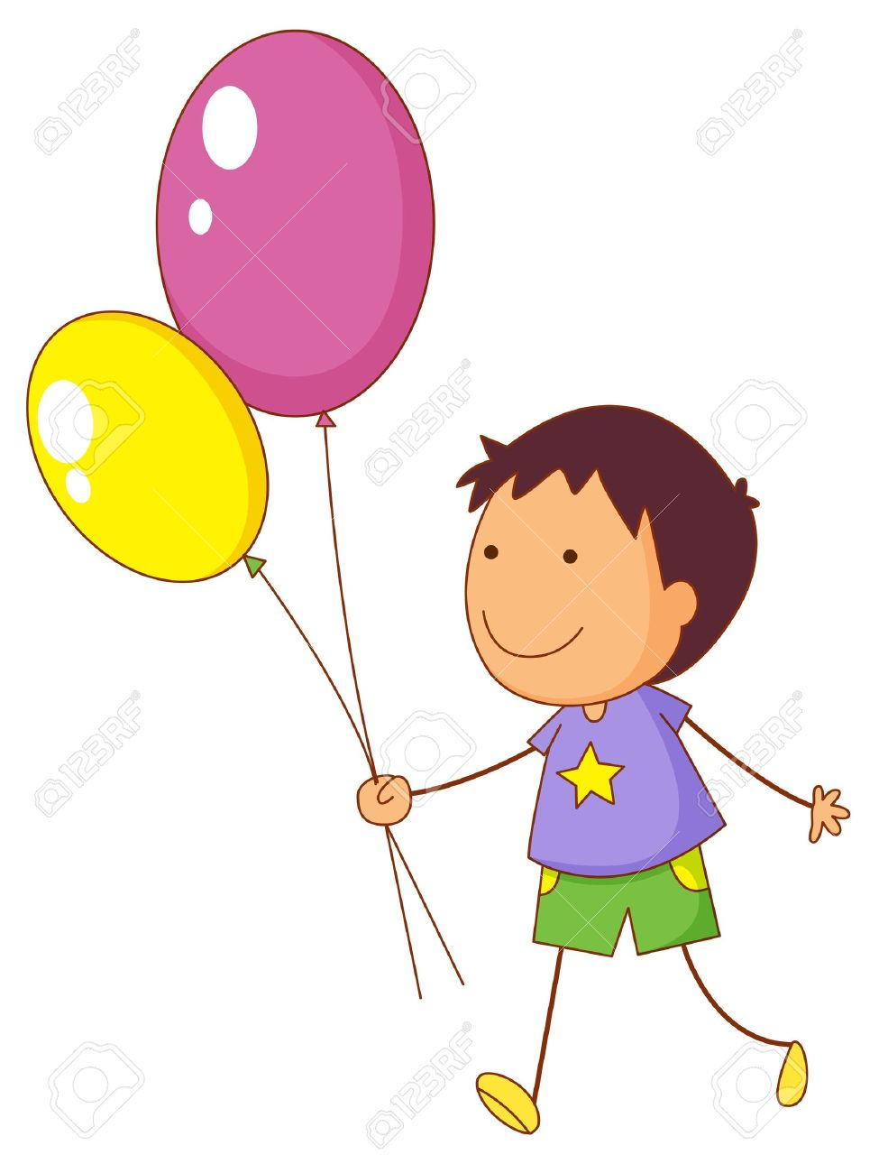 Illustration of a kid holding balloons.
