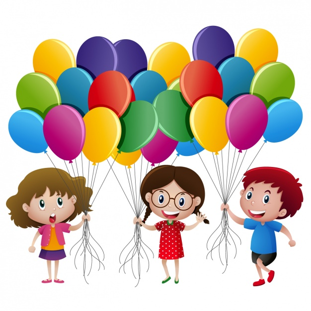 Kids with balloons design Vector.