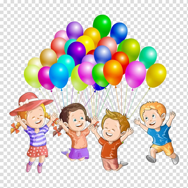 Four children holding balloons , Child Illustration, Children cheer.
