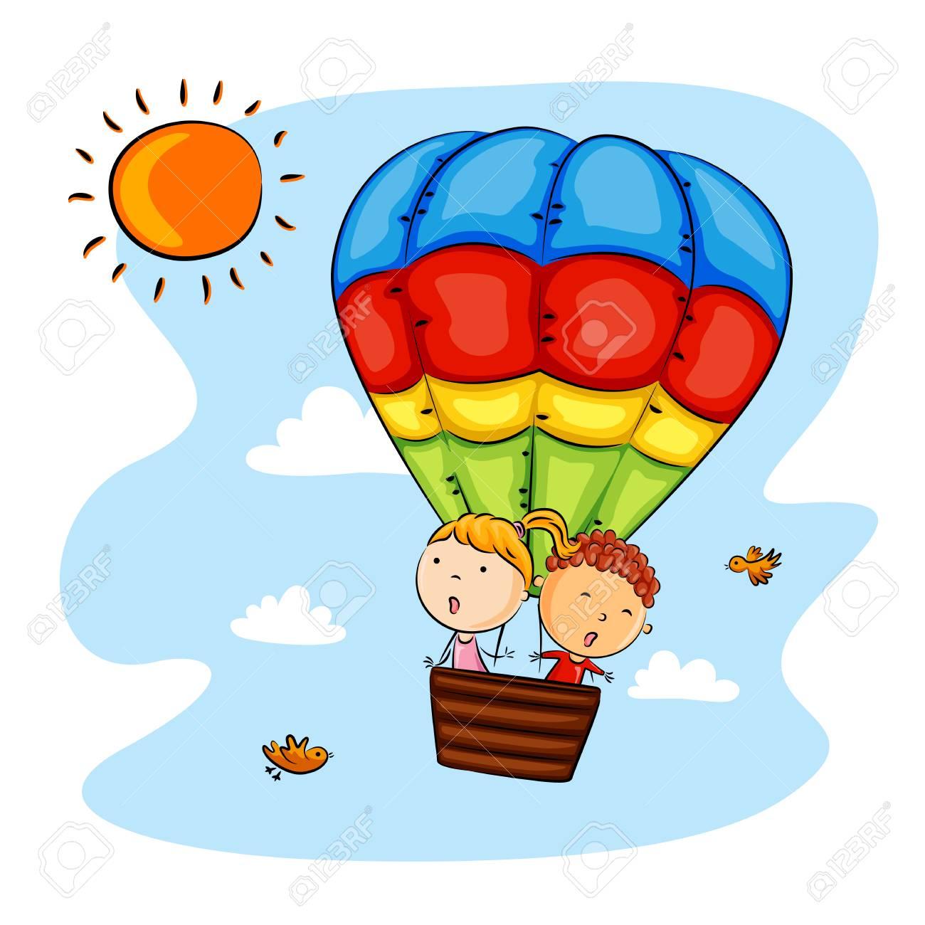 Happy kids riding hot air balloon.