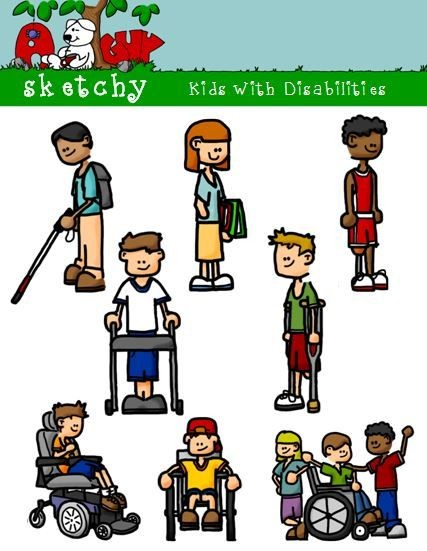 Kids with Disabilities Clipart / Graphic.