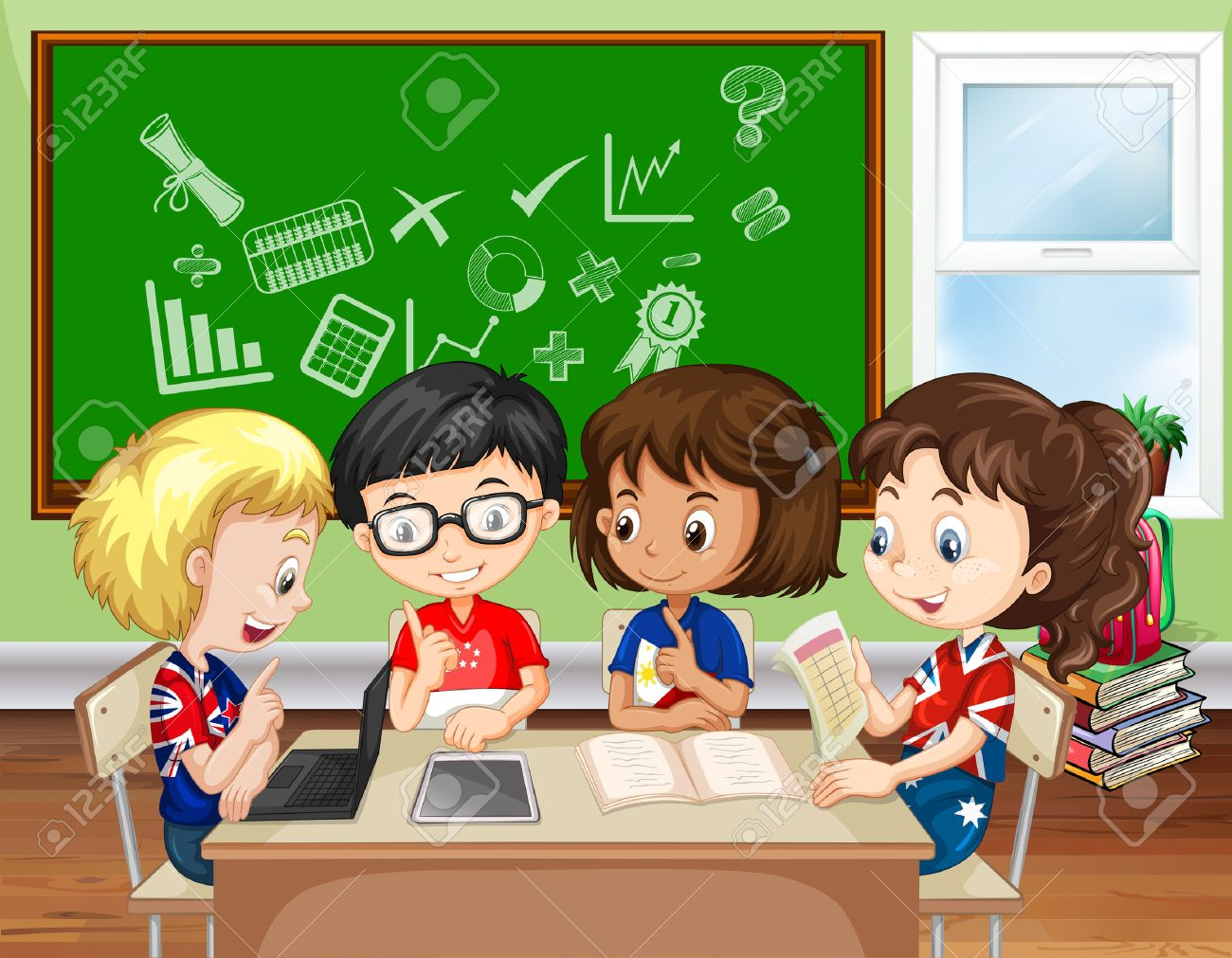 Children working in group in the classroom illustration.