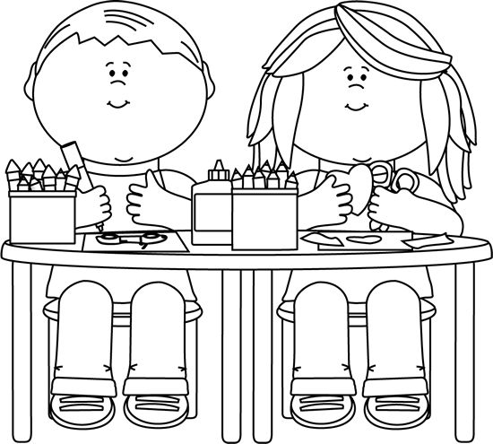 Children Drawing Clipart Black And White.