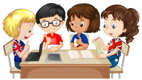 Kids Working In Groups Clipart.