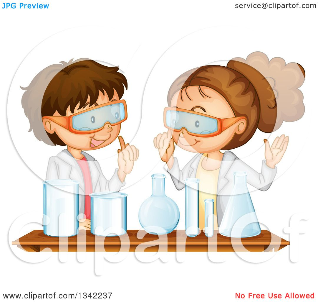 Clipart of a Caucasian School Boy and Girl Working Together on a.