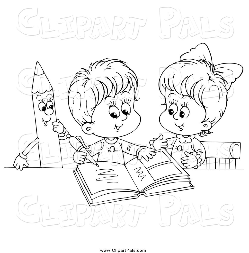 Child Writing Clipart Black And White.
