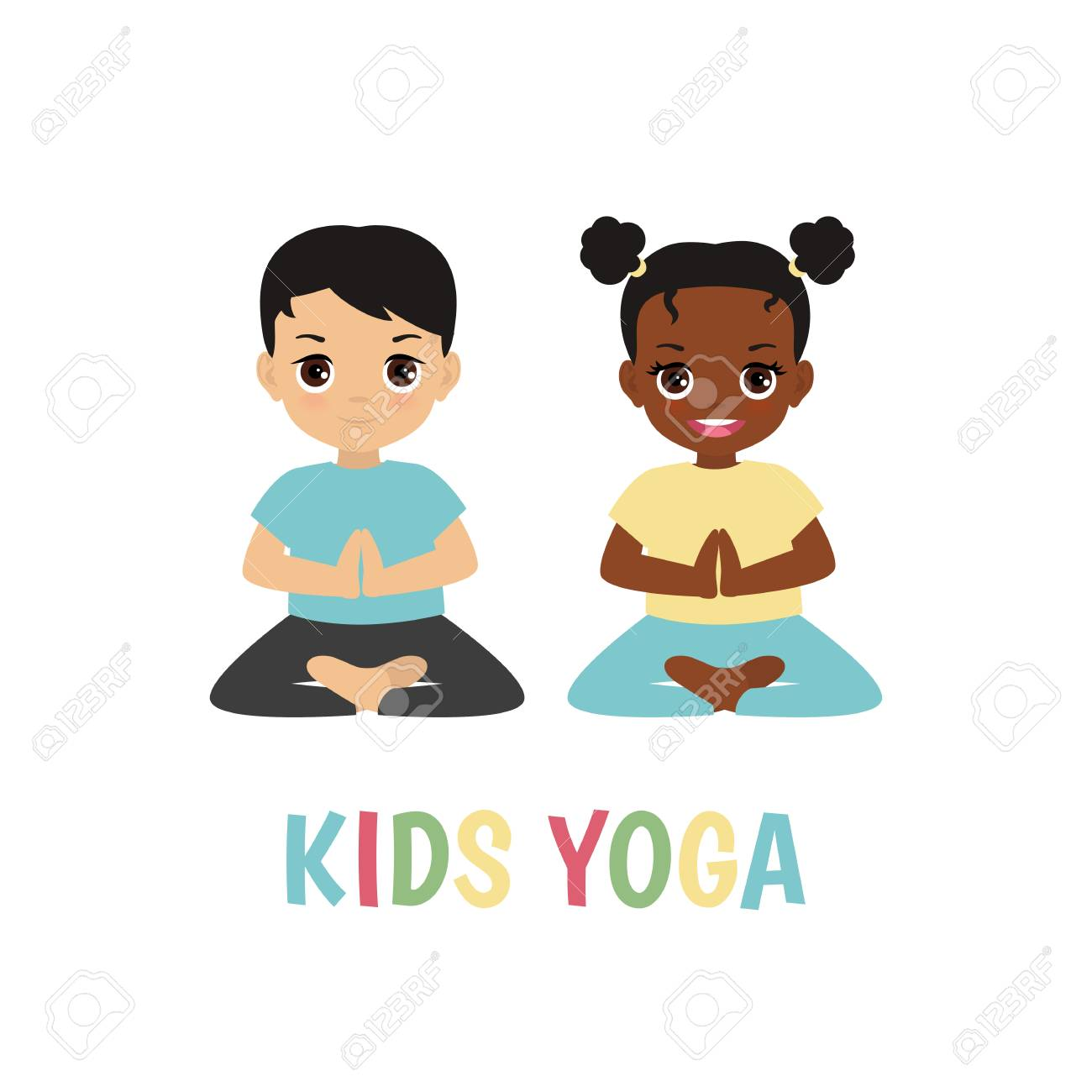 Kids yoga design concept with boy and girl in yoga positions..