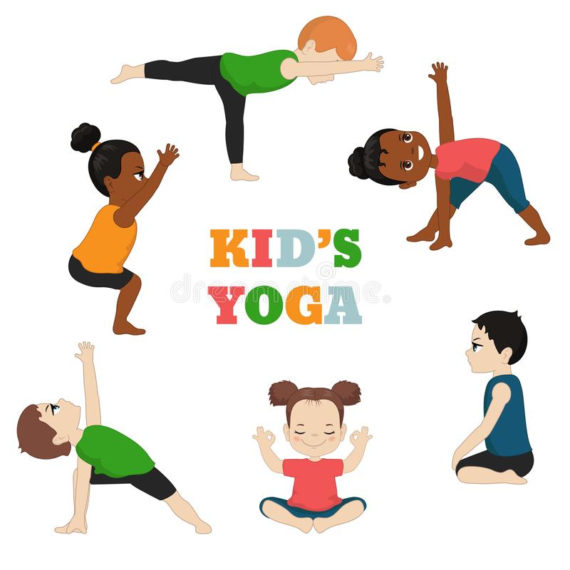 Kids Yoga Stock Illustrations.