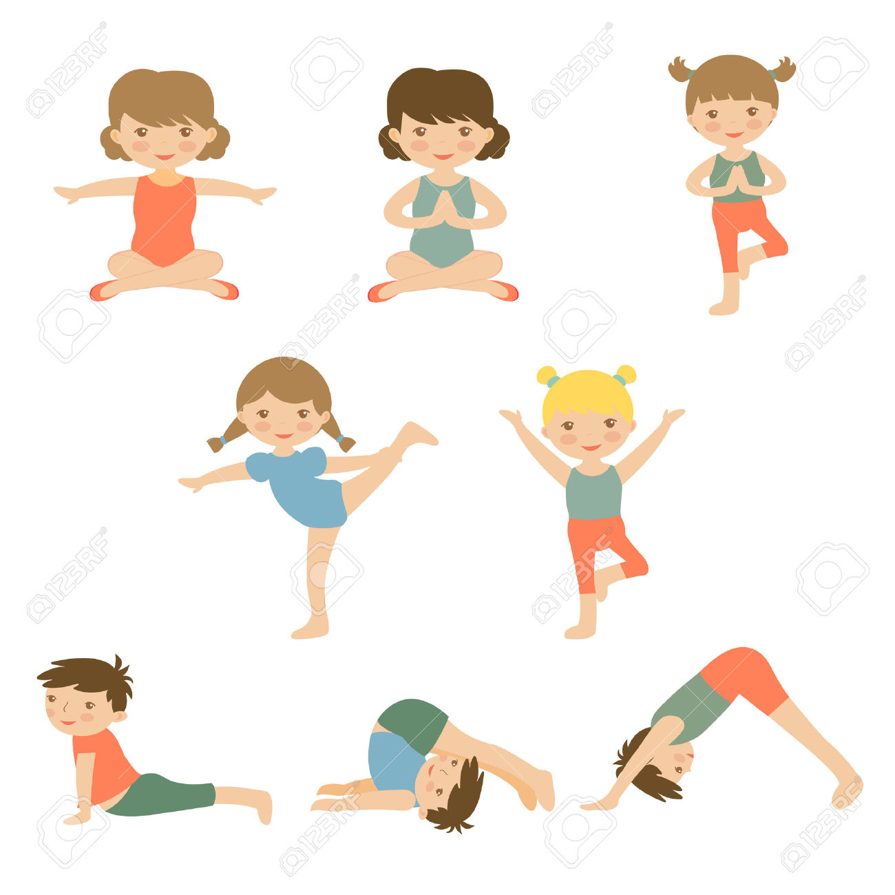 Cute Yoga Kids Characters Collection. Illustration In Vector.