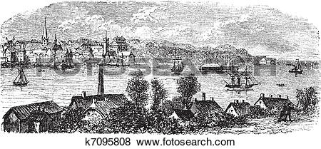 Clip Art of River, buildings and mountain at Kiel, Germany vintage.