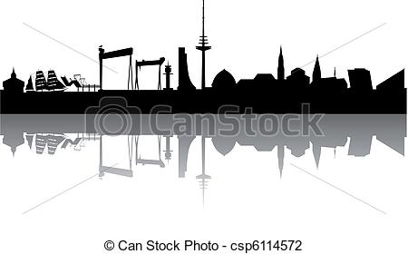 Vector Illustration of Kiel Skyline abstract on white Background.