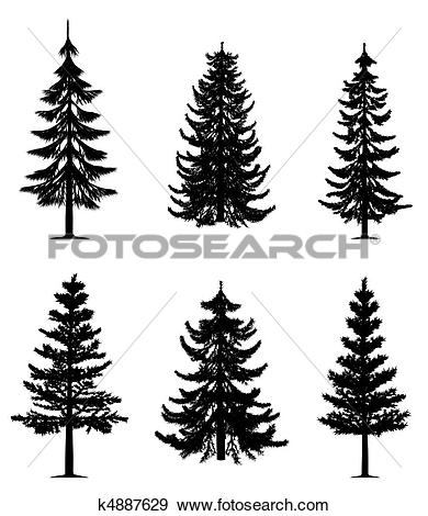 Clip Art of Pine trees collection k4887629.