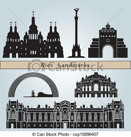Vector Clipart of Kiev landmarks and monuments isolated on blue.