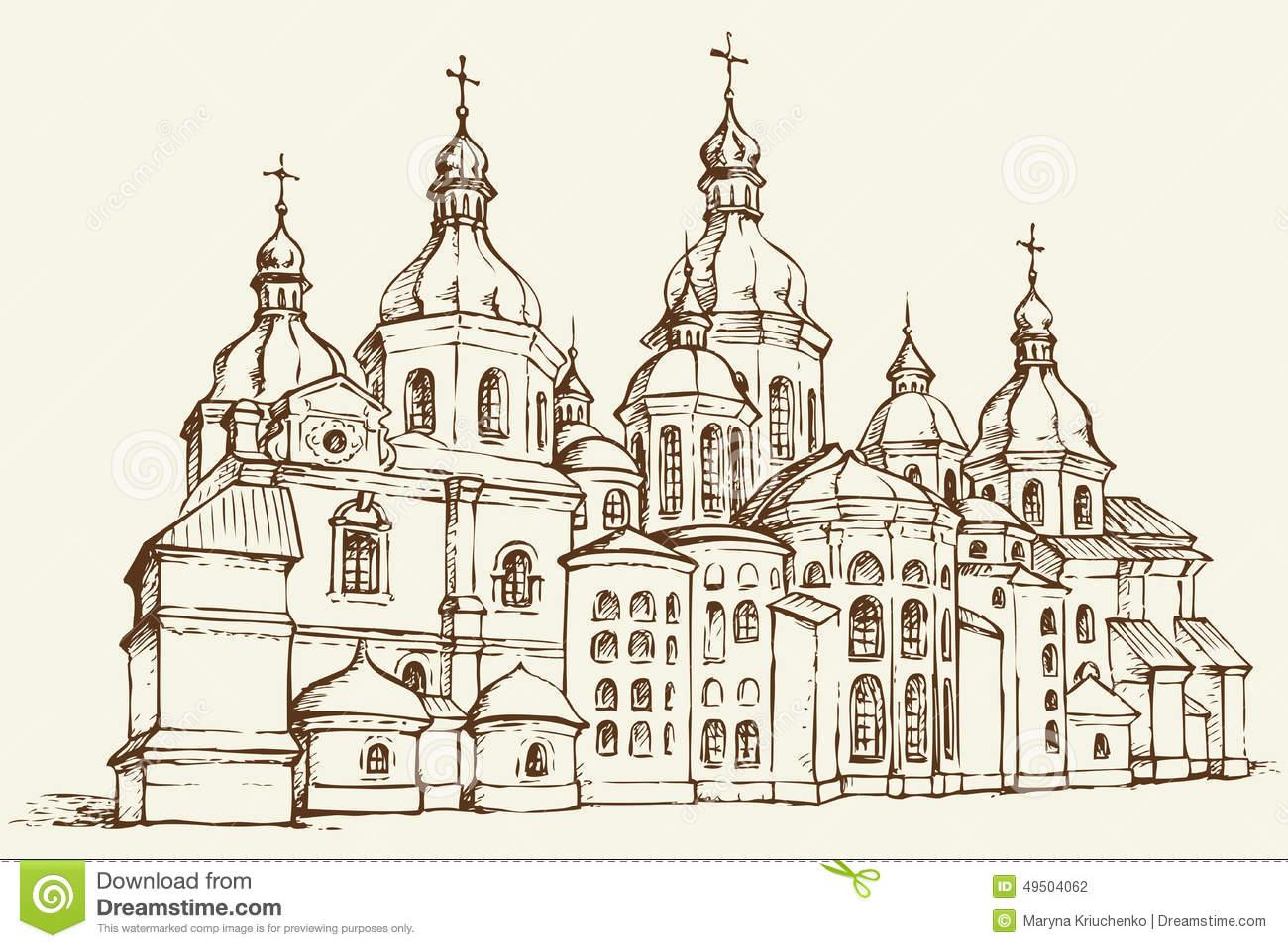 Vector Saint Sophia Cathedral In Kiev, Ukraine Stock Vector.