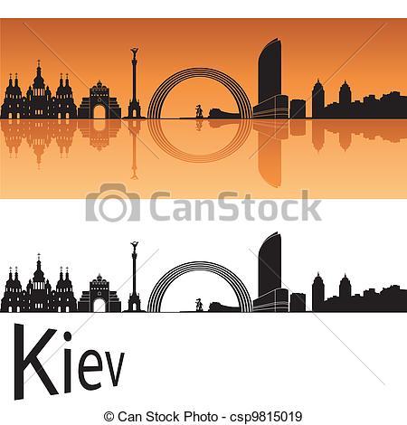 EPS Vectors of Kiev skyline in orange background in editable.