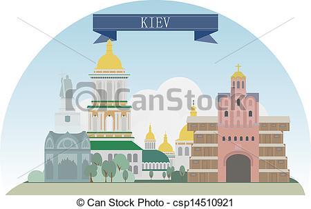 Vector Illustration of Kiev, Ukraine. Vector for you design.
