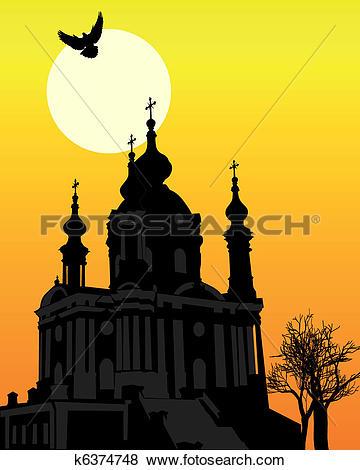 Clip Art of St. Andrew's Church in Kiev k6374748.