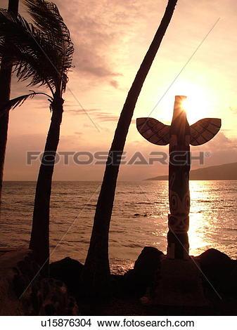 Stock Photo of Kihei, Maui, HI, Hawaii, Captain Vancouver Monument.