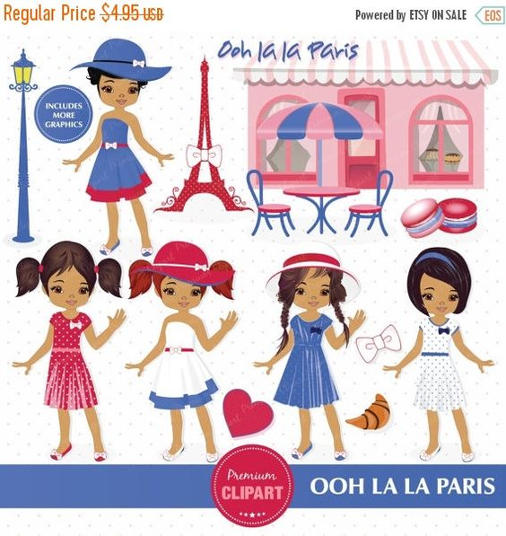 Paris clipart, Paris Girls Clipart, Paris Theme Party, Eiffel.