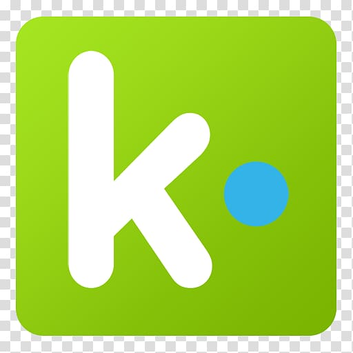 Green K icon, grass angle area text, Kik transparent.